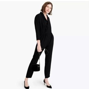 NWT J.Crew Lapel Jumpsuit in Black Everyday Crepe